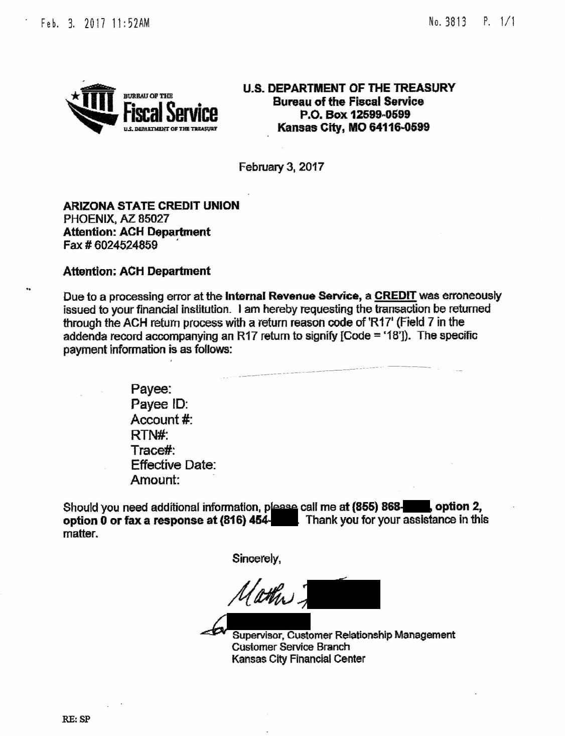 The redacted IRS notice sent to the readers' bank, in this case the ...